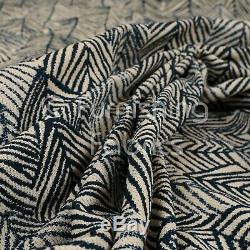 New Chenille Quality Woven Modern Leaf Floral Pattern Navy Upholstery Fabric