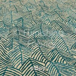 New Chenille Quality Woven Modern Leaf Floral Pattern Teal Upholstery Fabric