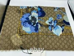 New Gucci Double Gg Logo Ladies Scarf Shawl Beige Blue Floral Pattern