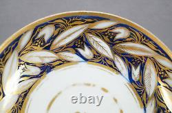 New Hall Pattern 540 Cobalt & Gold Floral Coffee Can & Saucer Circa 1800