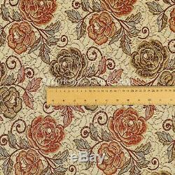 New Red Green Blue Colour Chenille Upholstery Curtain Fabric Rose Floral Pattern