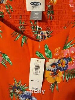 Old Navy Women's XXL Orange Floral Pattern Dress New with Tags