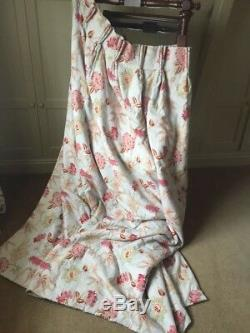 One pair of pale blue pleated curtains with red floral pattern 4ft W x 7ft long