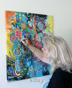 Original Abstract Canvas Acrylic Color Garden I Floral & patterns Beautiful Bold