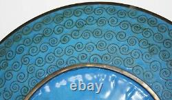 Original Antique Chinese Cloisonne Plate-Blue, Pink & Red Floral Pattern-c. 1920s