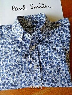 PAUL SMITH Shirt, Button Down Collar, Long Sleeves, Floral Pattern, Size 16/40