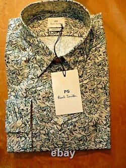 PAUL SMITH Shirt, New with Tags, 100% Cotton, Long Sleeves, Blue Floral Pattern