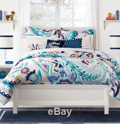 PB Teen PAISLEY BLOOM QUILT Floral Paisley Pattern Teal Purple Blue TWIN 86x68