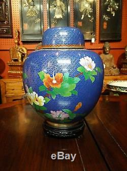 Pair Light Blue Round Floral Patterned Cloisonne Ginger Jar 12 w Stand