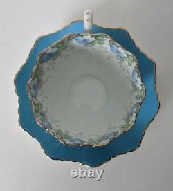 Paragon Double Warrant Teacup and Saucer, Blue Floral GARLAND Pattern