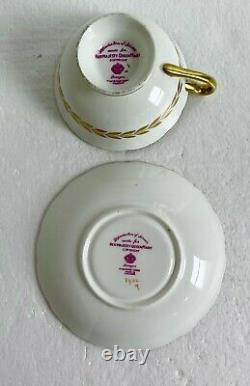 Paragon Queen Mary Pattern England Tea Cup & Saucer Floral Gold Signed Holland
