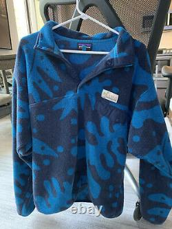 Patagonia Pataloha Limited Edition Mens Blue Pattern Pullover Fleece Size L