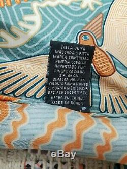 Pineda Covalin Luxury Scarf 100% Silk 34 Aztec Mexico pattern theme hand rolled