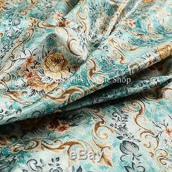 Quality Shiny Floral Printed Pattern Blue Velvet Upholstery Furnishing Fabric