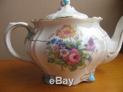 RIDGWAYS Roslyn Pattern TEAPOT English Turquoise Blue Floral Gold Trim Vintage
