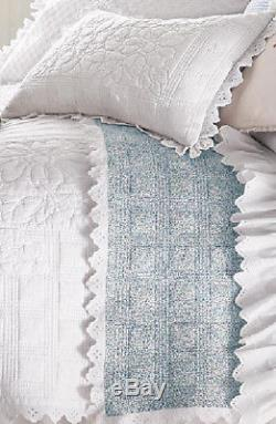 Ralph Lauren Cottage Hill White King Quilt with Blue Floral Pattern Reverse NWOT