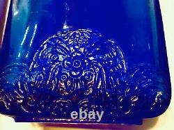 Rare! Vintage French Cobalt Blue Glass Bottles withEmbossed Floral Pattern (3)