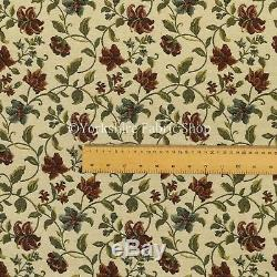 Red Green Blue Floral All Over Pattern White Chenille Jacquard Upholstery Fabric