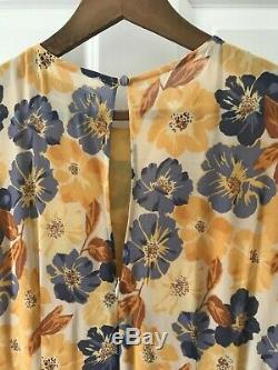 Reformation Dress Color Yellow, Cream, Blue Pattern, Size 10, Ties on sleeves