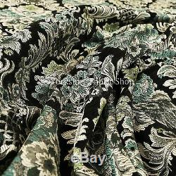 Rich Detail Damask Exotic Black Blue Floral Pattern Upholstery Furnishing Fabric