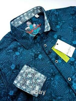 Robert Graham Floral Gingham Check Pattern Teal Sports Shirt $199