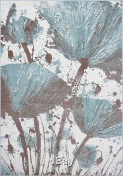Rose Pattern Abstract Area Rug Carpet in Blue-Cream 4x6 5x8 7x10 8x11 BVY1152