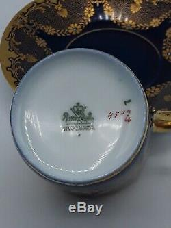 Rosenthal Demitasse Cup And Saucer Cobalt/gold Chain Floral Pattern Gilded Rare