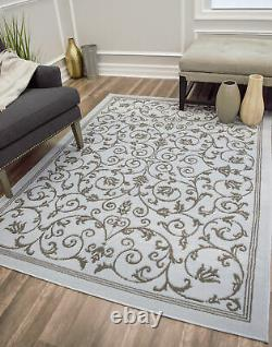 Rugs America Belfort Scroll Transitional Area Rug Blue/Red/Ivory/Grey All Sizes