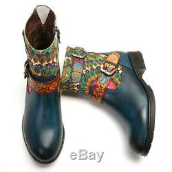 SOCOFY Women Metal Buckle Pattern Genuine Leather Shoes Comfy Flat Ankle Boots