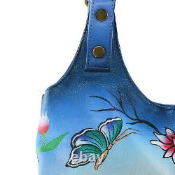 SUKRITI Blue Butterfly Floral Pattern Hand Painted Genuine Leather Shoulder Bag