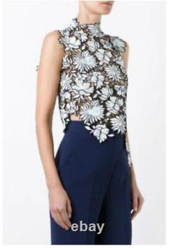 Self Portrait Embroidered Top Blue Flower Pattern With Black Edging UK 12