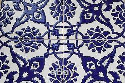 Set of 100 Cobalt Blue 8x8 Turkish Iznik Carnation Floral Pattern Ceramic Tile