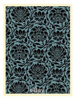 Shepard Fairey Obey Giant DARK BLUE FLORAL PATTERN Signed Numbered Screen Print