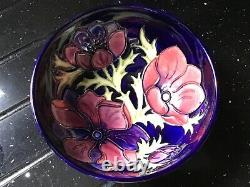 Signed Walter Moorcroft'clematis Floral Pattern 6.5 Inch Diameter Bowl
