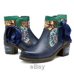 Socofy Bohemian Floral Pattern Leather Zipper Lace Up Ankle Retro Cowgirl Boots