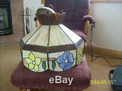 Stained Glass Vintage Slag Ceiling Light Floral Yellow & Blue Scalloped Pattern