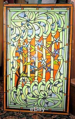 Stained Glass Window Vintage Floral Vine Pattern Blue Beads Intricate Detail