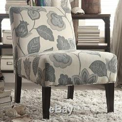 Teal Floral Pattern Upholstered Seat Accent Slipper Chair Home Living Furniture