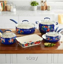 The Pioneer Woman Floral Pattern Ceramic Nonstick 10-Piece Cookware Induction