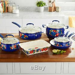 The Pioneer Woman Floral Pattern Ceramic Nonstick 10-Piece Cookware Set New