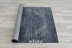 Transitional Novelty Bohemian Area Rug 5x7 Floral Pattern Modern Navy Rug 8x10