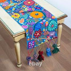 Turquoise Floral embroidered Table runner, Decorative Table Runner Pattern peru