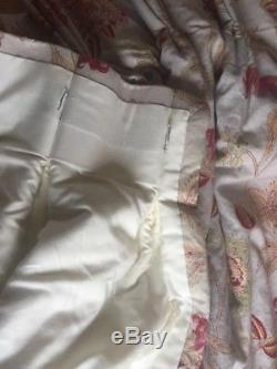 Two pairs of pale blue pleated curtains with red floral pattern 4ft W x 7ft long
