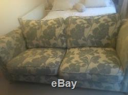 Two seater settee sofology cream & duck egg blue pattern lovely Quality Cond