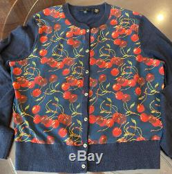 VINTAGE TED BAKER LONDON Cardigan Sweater Size 2, Navy, Cherries Pattern RARE