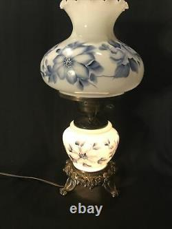 VTG HURRICANE HAND PAINTED PARLOR LAMP WithBLUE FLORAL PATTERN 3 WAY 19 TALL