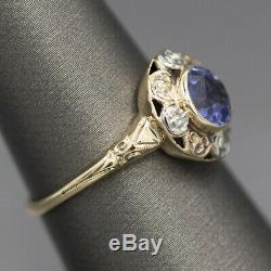Victorian Blue Sapphire Ring with Floral Pattern in 10k Yellow Gold