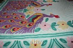 Vintage Chenille Bedspread Peacock Pattern Full Queen Size Stunning