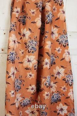 Vintage Floral Fabric French 1910-1920 printed cotton rare orange & blue pattern