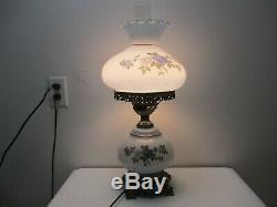 Vintage Gone with the Wind Hurricane Table Lamp White Blue Floral Pattern 20 T